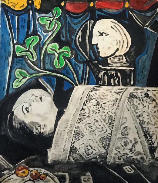 andrea-saltini-nudo-foglie-verdi-busto-e-tappeto-2018-argilla-pigmentata-di-nero-gesso-inchiostri-cinesi-su-tavola-cm-144x24-courtesy-artesi