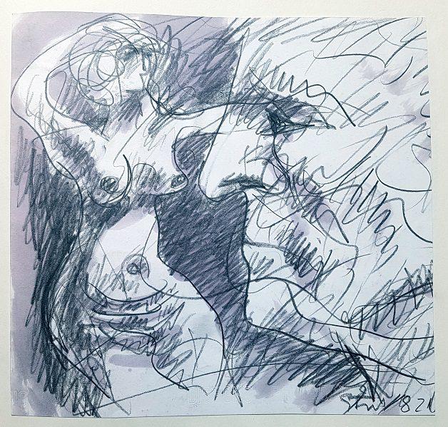 karl-stengel-senza-titolo-disegno-1982-matita-e-acquerello-su-carta