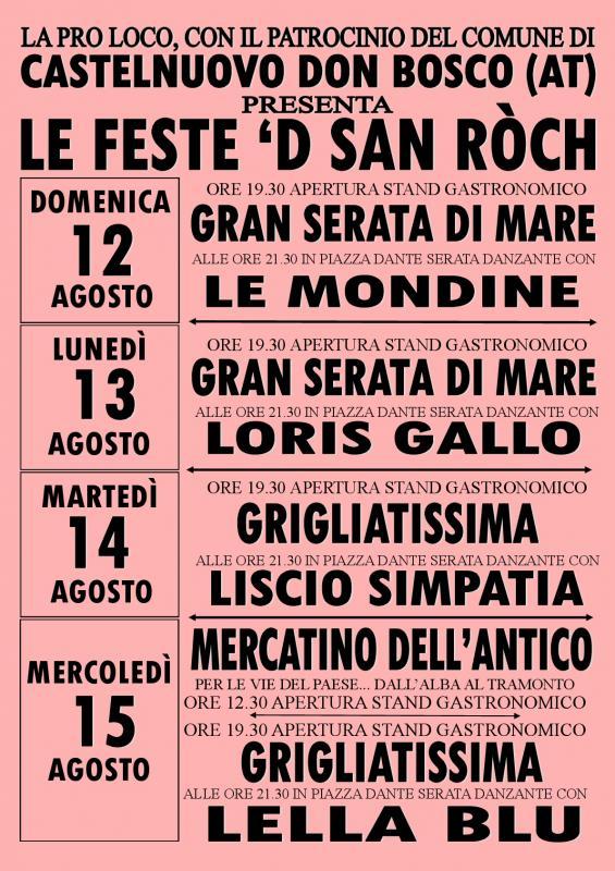 Le Feste 'D San Ròch 2018